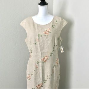 $168 NWT Talbots floral embroider linen maxi dress